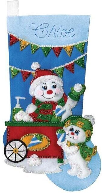 Snow Cone Snowman Christmas Stocking - Felt Applique Kit