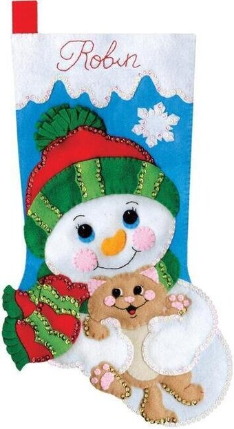 Hugs for Kitty Christmas Stocking - Felt Applique Kit