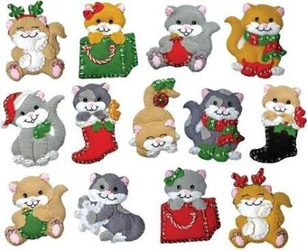 Holiday Cats Christmas Ornaments - Felt Applique Kit