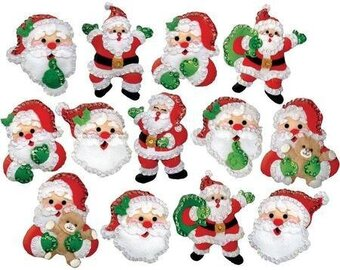 Joyful Santa Christmas Ornaments - Felt Applique Kit