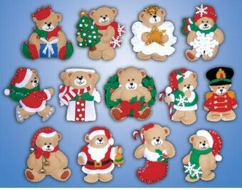 Lots Of Bears Christmas Ornaments - Felt Applique Kit