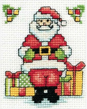 Santa with Frame Mini - Christmas Cross Stitch Kit