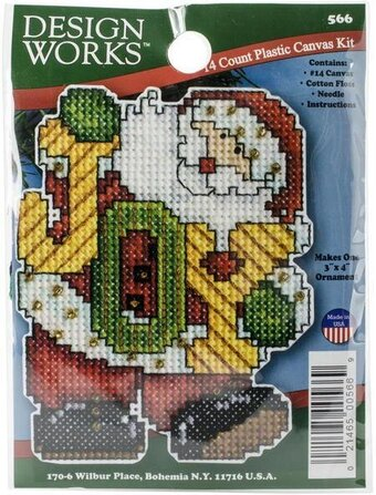 joy santa christmas ornament plastic canvas kit - Plastic Canvas Christmas Ornaments