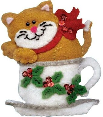 Teacup Cat Christmas Ornament - Felt Applique Kit