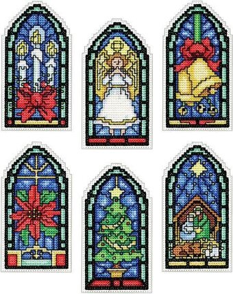 Stained Glass Christmas Ornaments - Cross Stitch Kit