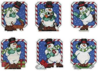 Candy Cane Snowmen - Plastic Canvas Cross Stitch Kit