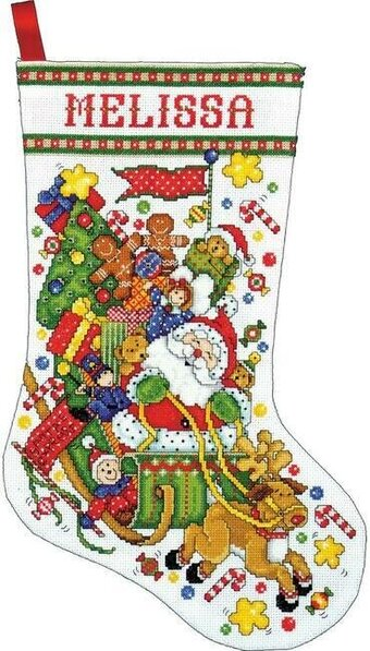 Santa and Sleigh Stocking - Christmas Cross Stitch Kit