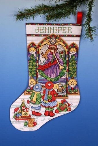 Stained Glass Christmas Stocking - Counted Cross Stitch Kit
