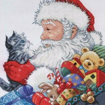 Santa With Kitten - Christmas Cross Stitch Kit