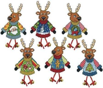 Ugly Sweater Reindeer Christmas Plastic Canvas Cross Stitch