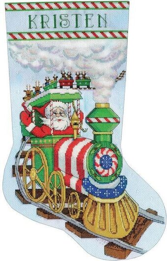 Santa's Train Christmas Stocking - Cross Stitch Kit