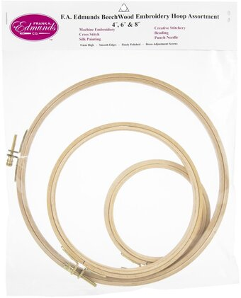 "Beechwood Embroidery Hoop 3 Pack - 4"", 6"" and 8"""