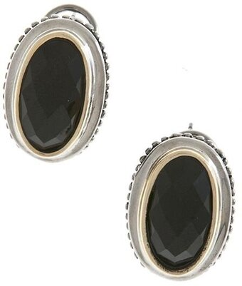 Oval Jewel Clip On Earrings - Black