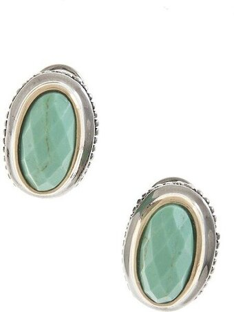 Oval Jewel Clip On Earrings - Mint