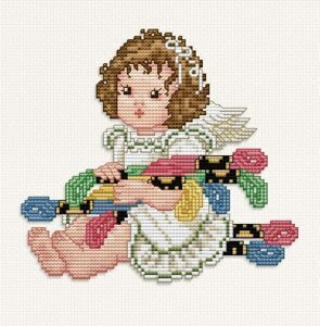 Stitching Angel With Floss - Cross Stitch Pattern