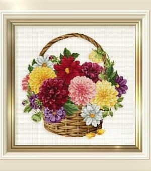 Dahlia Basket - Cross Stitch Pattern