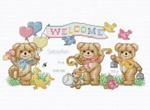 Beary Baby Announcement - Cross Stitch Pattern