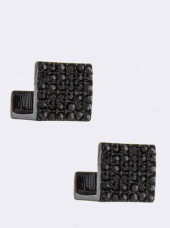 Pave Block Cuff Stud Earrings - Black