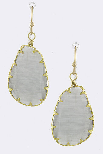 Prong Set Oblong Drop Earrings - Gray