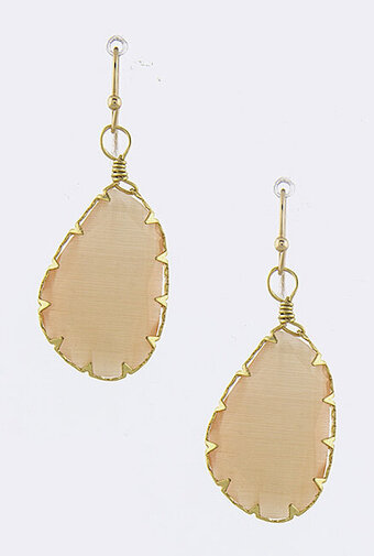 Prong Set Oblong Drop Earrings - Peach