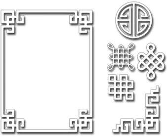 Oriental Frame and Motifs - Frantic Stamper Craft Die