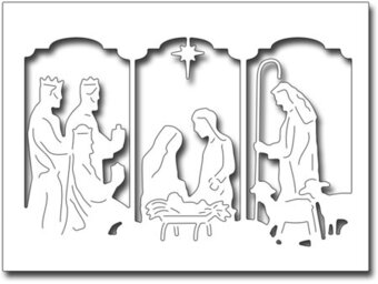 Triptych Nativity Card Panel - Frantic Stamper Craft Dies