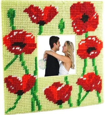 Poppies Photo Frame - Framous Plastic Canvas Kit