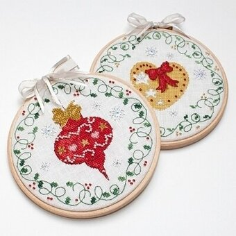 Bauble & Heart Christmas Hoops - Cross Stitch Pattern