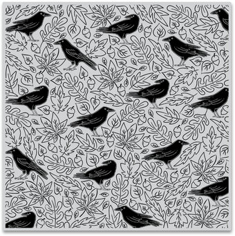 Crows and Autumn Leaves Bold Prints - Background Cling Stamp