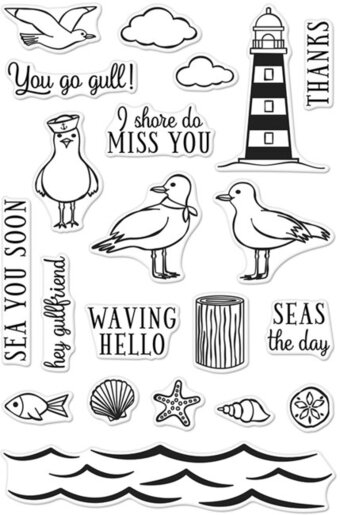 Seas The Day Seagulls - Clear Stamp
