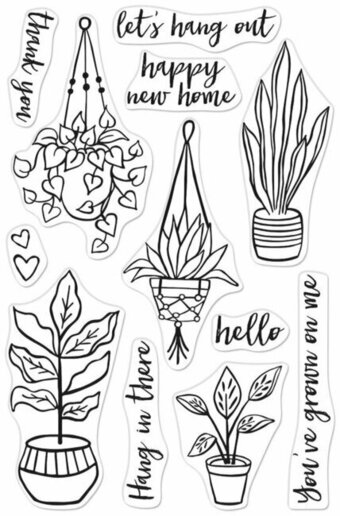 Hang In There Potted Plants - Clear Stamp
