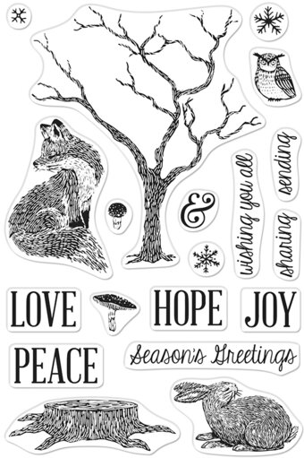 Winter Tree and Animals - Christmas Clear Stamp