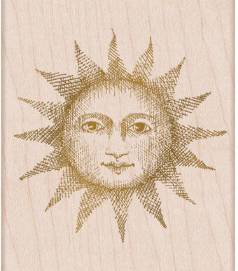 Etched Serene Sun - Wood Mounted Rubber Stamp