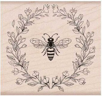 Antique Bee and Flowers - Rubber Stamp