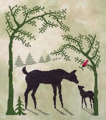 Deer in the Spring Wood - Cross Stitch Pattern