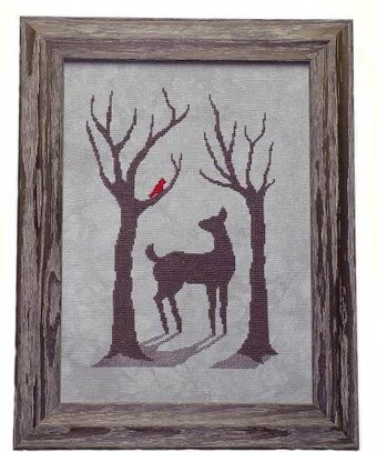 Deer in the Winter Mist - Cross Stitch Pattern