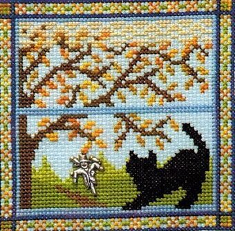 Kitty in the Fall Window - Cross Stitch Pattern