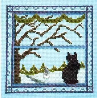 Kitty in the Winter Window - Cross Stitch Pattern