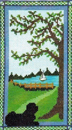 Puppy at the Door on a Summer Day - Cross Stitch Pattern