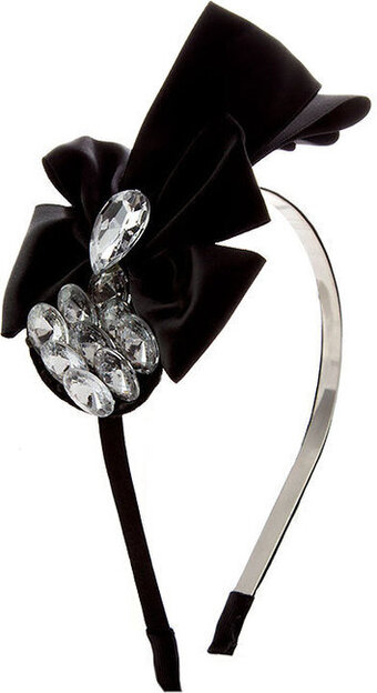 Tear Drop Gem Accent Bow Headband - Black