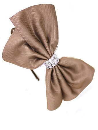 Mesh Satin Bow Rhinestone Headband - Brown