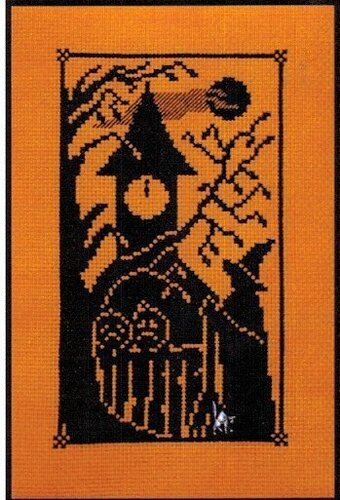 Halloween Silhouette Bewitching Hour - Cross Stitch Pattern