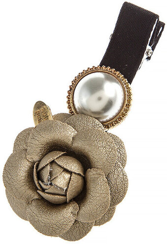 Large Pearl Rosette Hair Clip - Gold