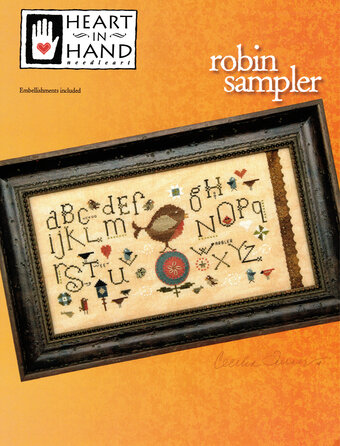 Robin Sampler (with button & wool circles) - Cross Stitch Pa