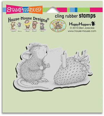 Strawberry Wish - House Mouse Cling Rubber Stamp