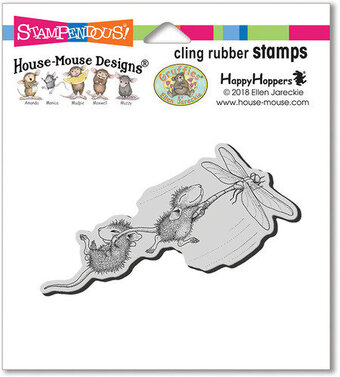 Dragonfly Ride - House Mouse Cling Rubber Stamp