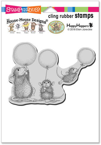 Balloon Fun - House Mouse Cling Rubber Stamp