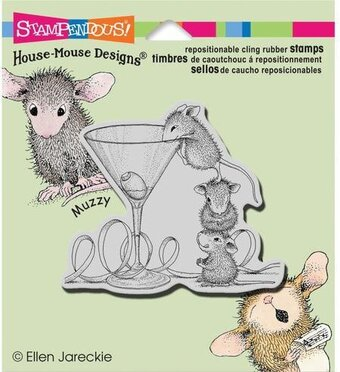 Martini Mice - House Mouse Cling Rubber Stamp