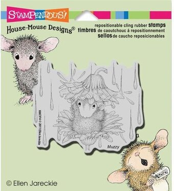 Rain Flower - House Mouse Cling Rubber Stamp