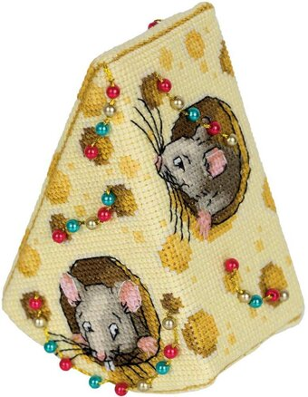 Cheese for the Mice Christmas Ornament - Cross Stitch Kit